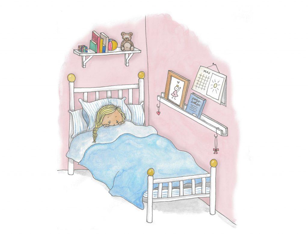 Lisa värmer sig under täcket i det kalla rummet