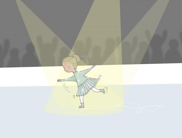 Lisa åker skridskor på isen iklädd en glittrig grön klänning