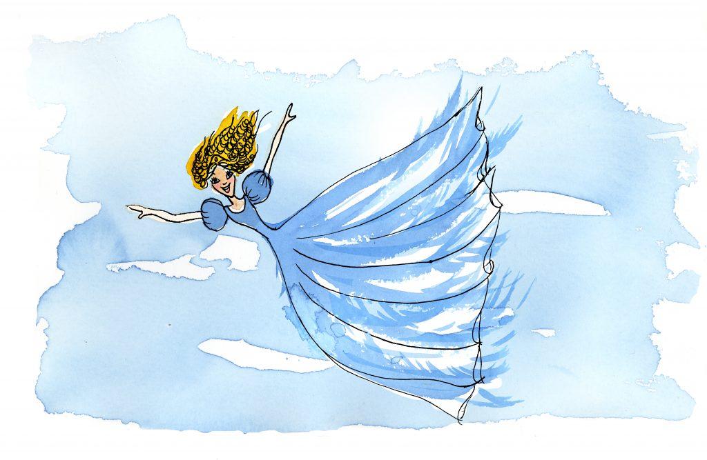 Lia flyger i en blå klänning