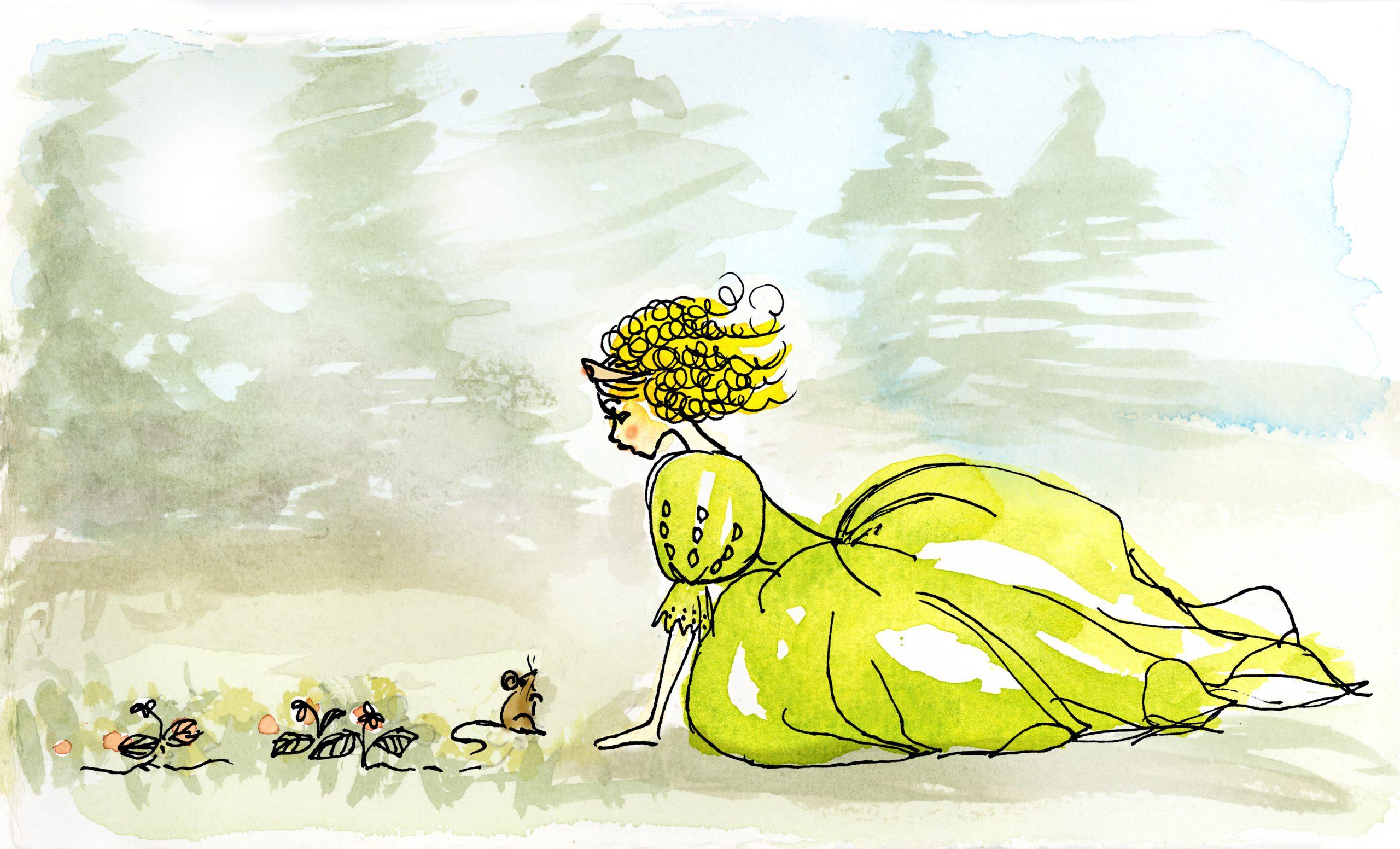 Lia i skogen i grön klänning samtidigt som hon hukar sig ner för att prata med mössen