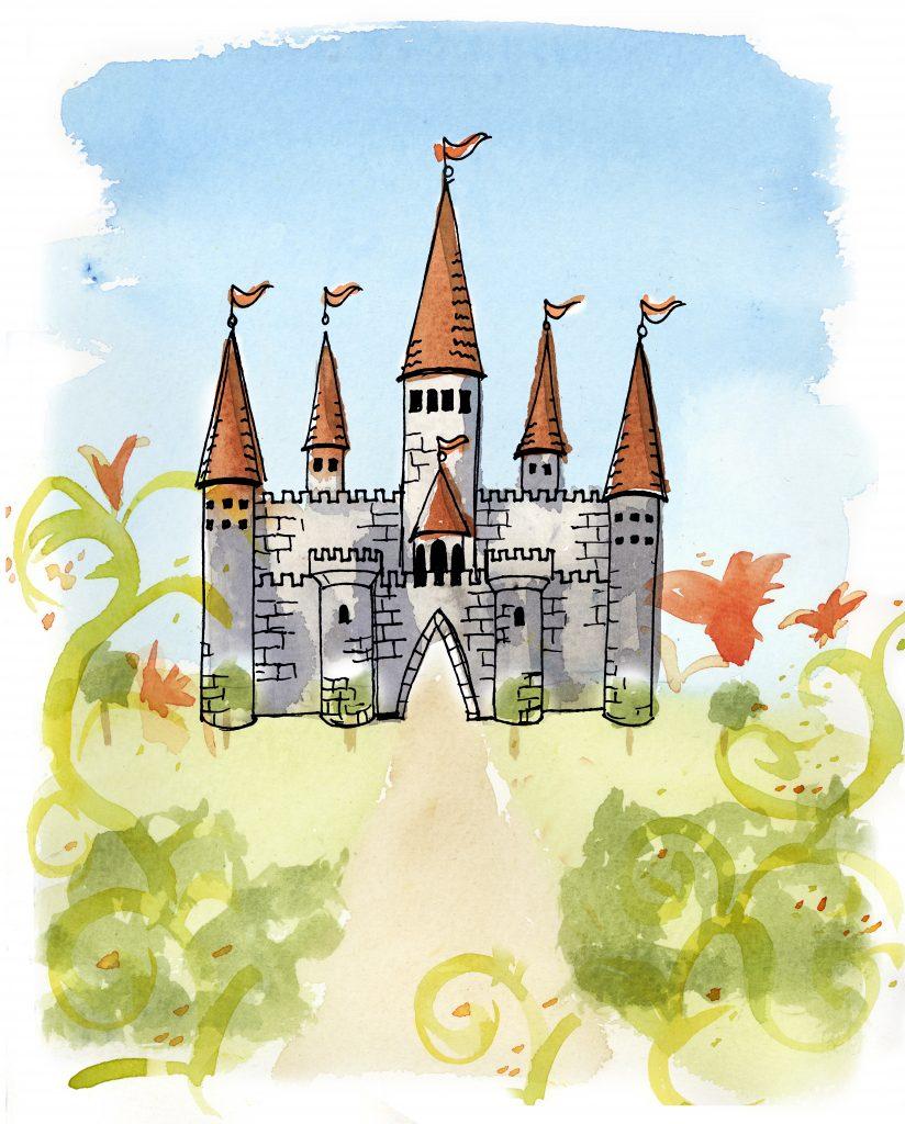 ett slott i sagolandet Pi bland vacker grönska