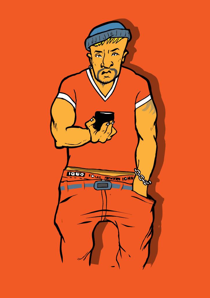 En skum snubbe i orangea kläder kollar ner i sin mobiltelefon
