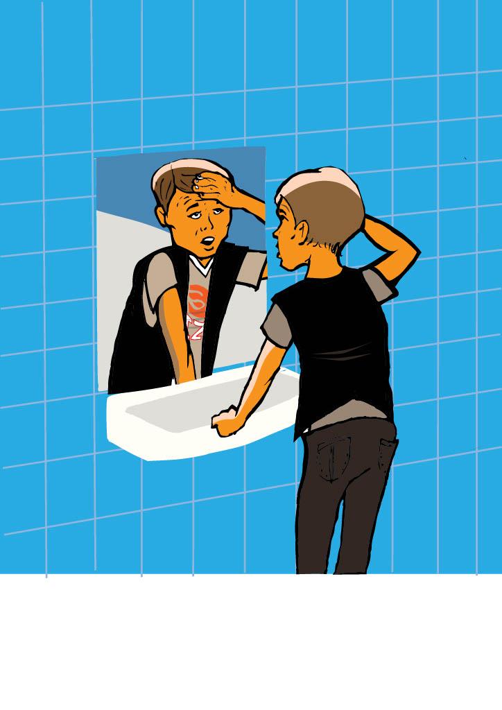 Pål tittar sig själv i spegeln och tar sig för pannan