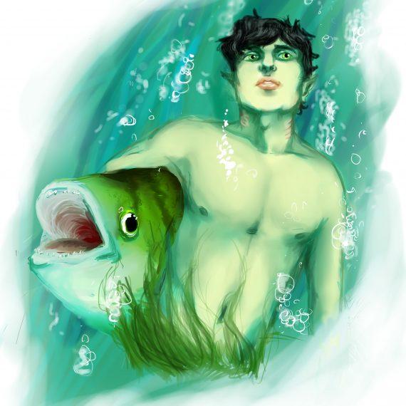 Bluren Rig håller hårt i en stor fisk under hans ena arm
